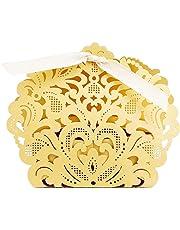 PONATIA 50pcs/Lot Laser Cut Pearl Paper Party Wedding Favor Ribbon Candy Boxes Gift Box