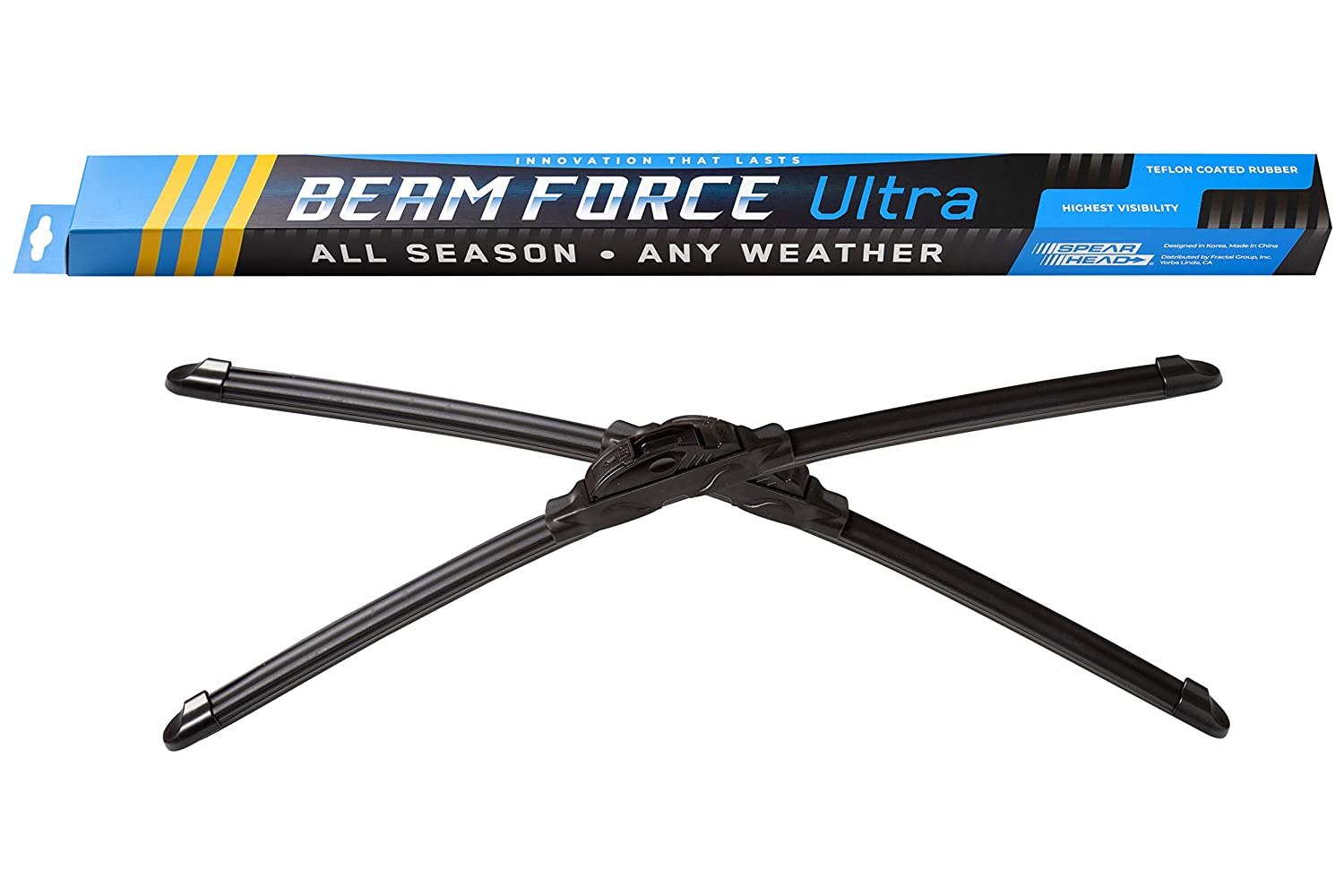 "Spearhead Beam Force ULTRA 26""+18"" Wiper Blades w/Teflon Rubber for Max Durability, Warranty (Pair)"