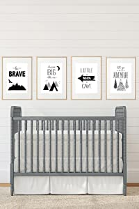 Silly Goose Gifts Black White Grey Adventure Themed Children Wall Decor (Set of Four) Brave Little Man Cave