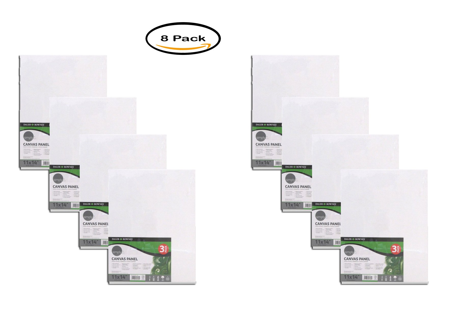 PACK OF 8 - Simply Canvas Panels, 11'' x 14'', 3 pk
