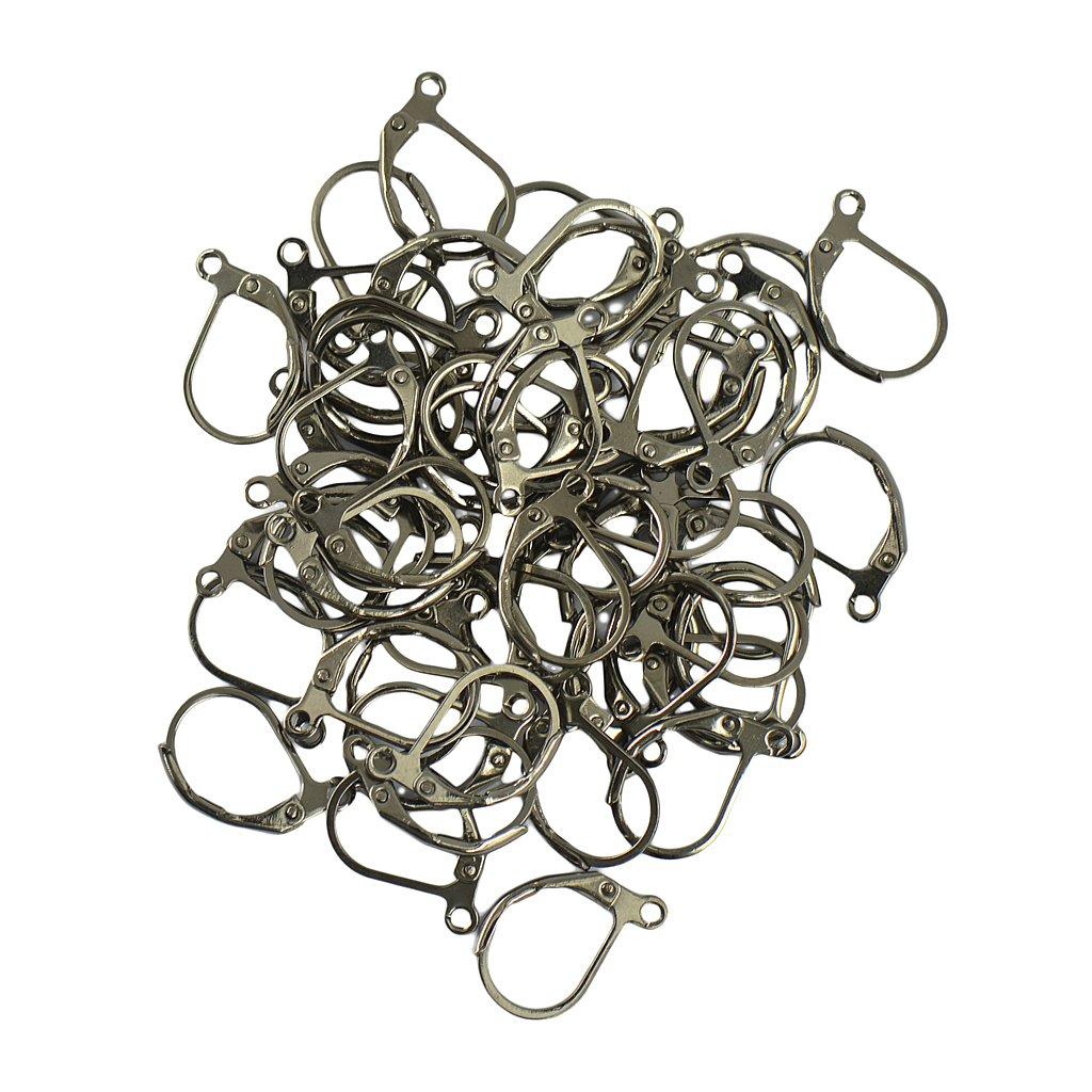 French Leverback Earrings Findings Hooks Open Loop DIY Pack of 50pcs - Gold, 13 x 12mm Generic STK0156007056