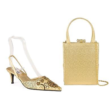 Farfalla Luxus Passenden Schuhen und Tasche, Gold Gold