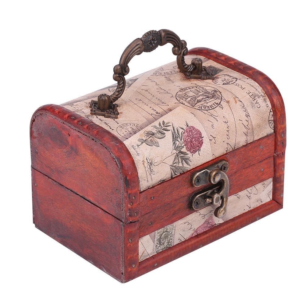 Portagioie in legno cassapanca, legno vintage Pearl Necklace Bracelet Gift Holder organizer Handmade retro europeo classico in legno di Old memoria Filfeel