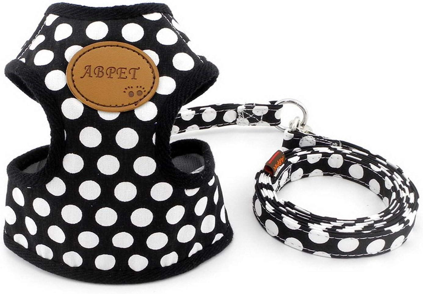 Zunea Nylon Soft Mesh Traspirante Pet Puppy Small Dog Cat Vest Imbracatura e Guinzaglio Set Leads Regolabile No Pull Walking Control Nero S