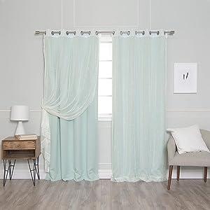 Aurora Home Mix & Match Triangle and Blackout 4 Piece Curtain Panel Set - 52 x 84-52 x 84 Mint