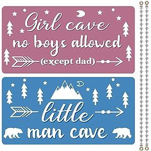 Jetec 2 Pieces Kids Room Decor PVC Plastic Decoration Blue Pink Children Room Signs Cave Door Hanging Sign for Boys Girls Home Bedroom Decoration