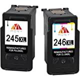 Mony Remanufactured Canon PG-245 CL-246 XL Ink Cartridges (1 Black, 1 Tri-clour, 2-Pack) Used in Canon Pixma MX492 MX490 MG25