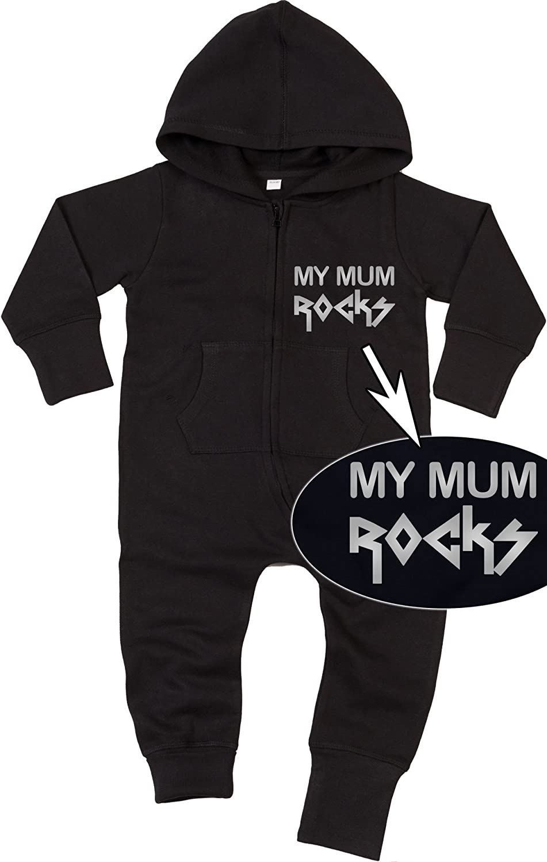 MY MUM ROCKS silver Baby All-in-one Sweatsuit black 47286