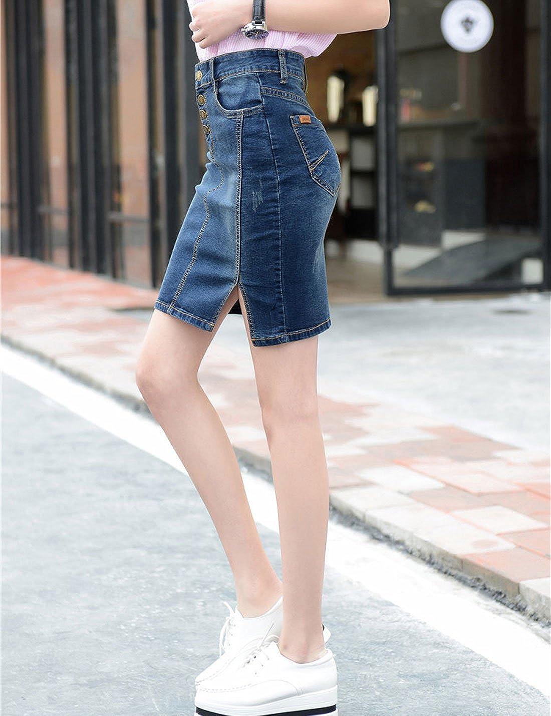 Yeokou Womens Side Split Stretch Denim Jean Bodycon Mini Short Pencil Skirt XXL