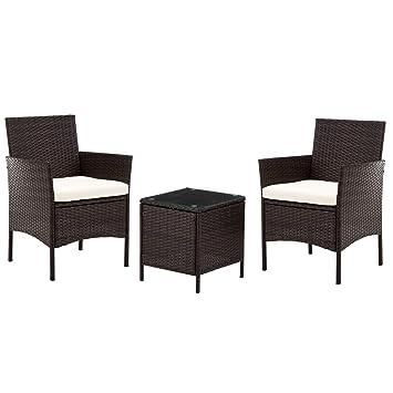 IntimaTe WM Heart Conjunto Muebles de Jardín Cafetería Sofá Exterior en Poly Ratán con Conjín, Ideal para Balcón y Terraza, Set de 2 Sillones y 1 ...