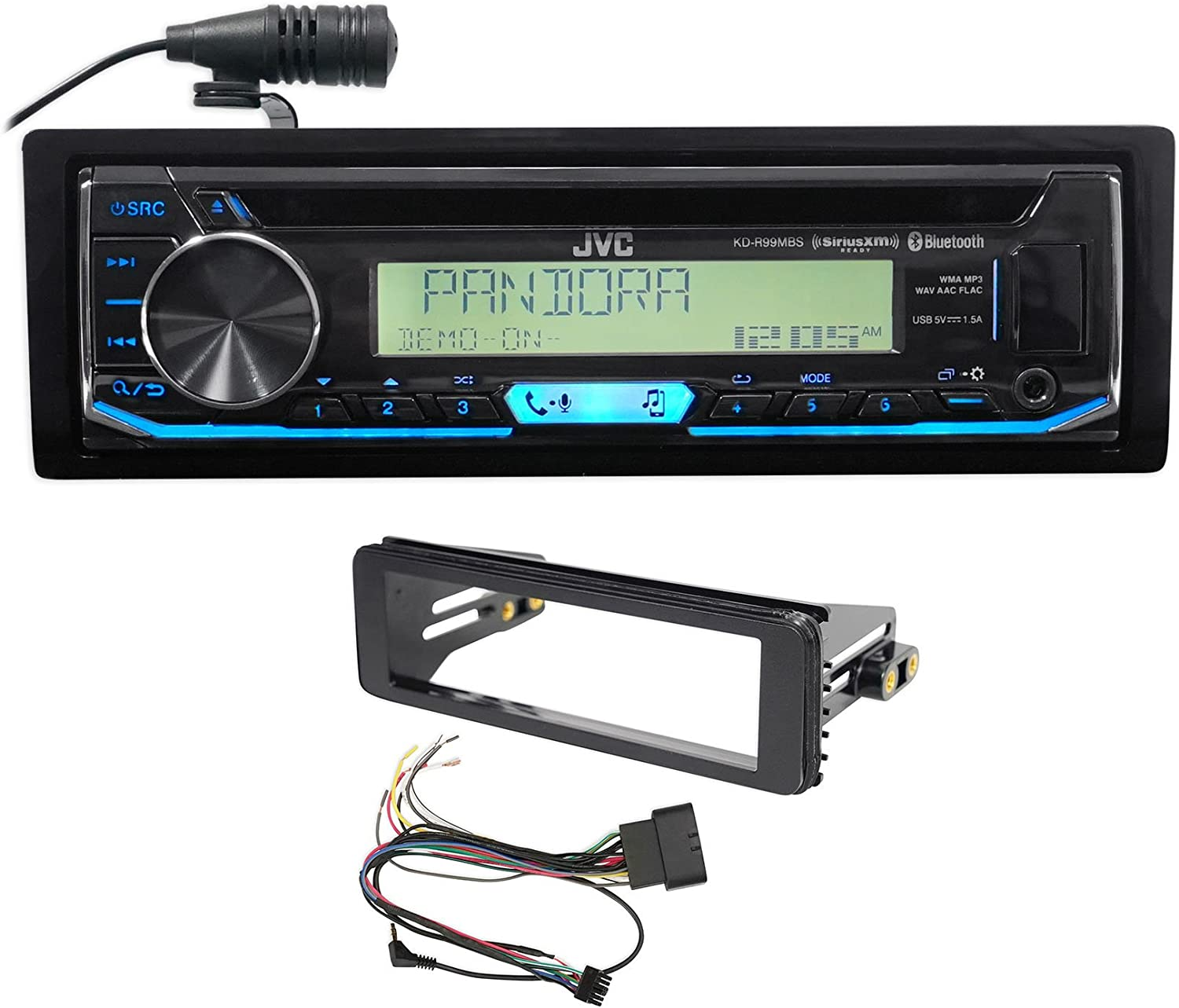 JVC CD Player Receiver Stereo Upgrade Kit for 1998-13 Harley Davidson FLHT FLHTC