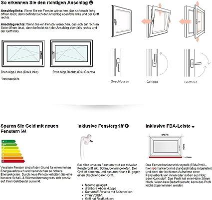 Kellerfenster Kunststoff//PVC Wei/ß 2-fach // 3-fach Verglasung alle Gr/ö/ßen Dreh//Kipp 50x50 cm Anschlag:DIN Rechts BxH:500x500 Glas:2-Fach