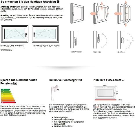 BxH:80x110 cm DIN Links Fenster Kellerfenster Kunststofffenster wei/ß Dreh-Kipp Premium 3 fach Verglasung ALLE GR/Ö/ßEN