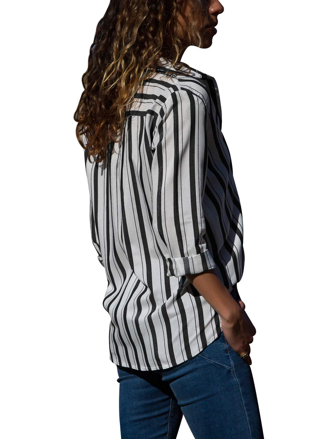 HOTAPEI Womens Casual V Neck Striped Chiffon Tops and Blouses 3 4 Long Sleeve Business Button Down Shirts Black and White Medium by HOTAPEI (Image #2)