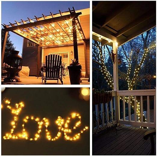 10 M 20 M énergie solaire extérieure lumières LED jardin pelouse lampe fée fil de cuivre LED chaîne décorative vacances de mariage fête de noël (Couleur démission : Blanc doux-20M): Amazon.es: Iluminación