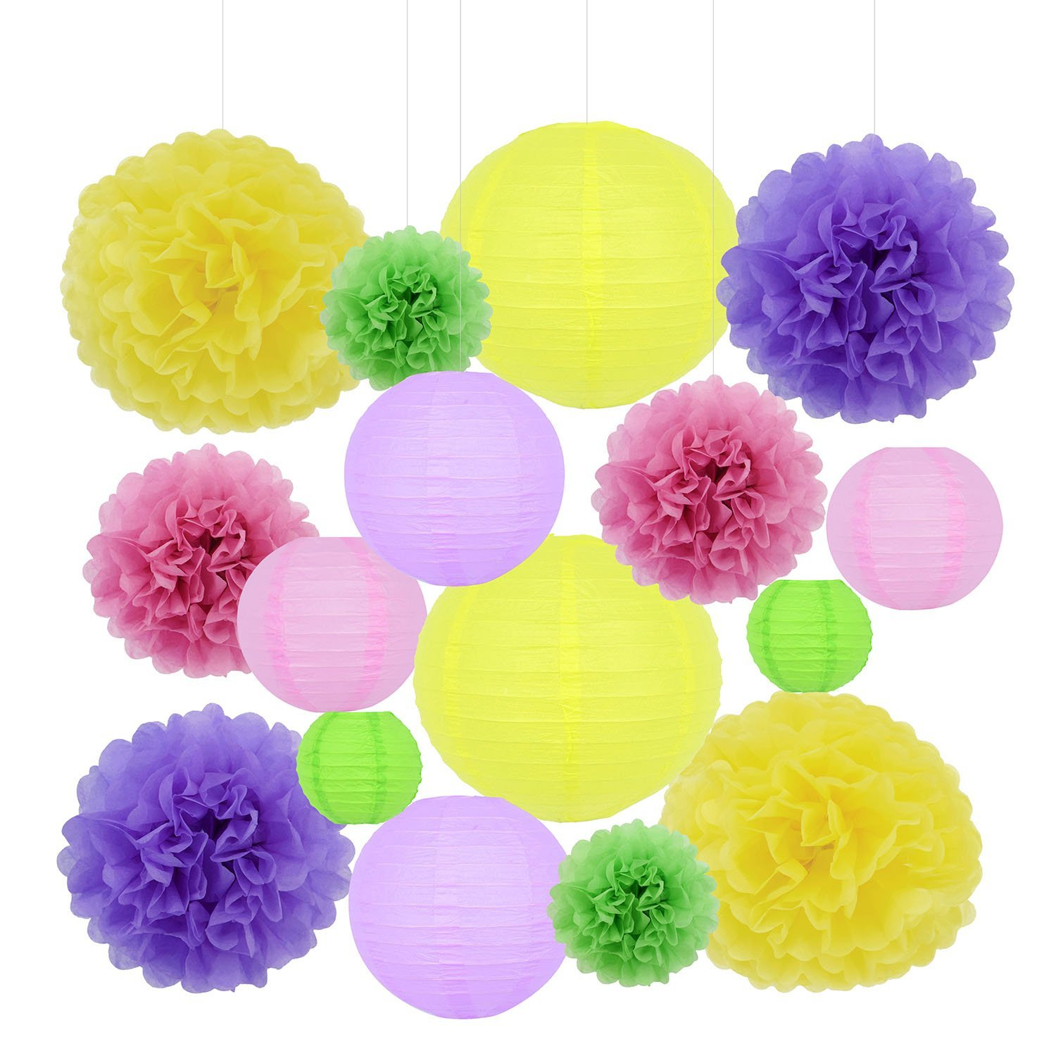 Racol 16pcs Colorful Paper Lanterns with Paper Flower Pom for Paper Hanging Decorations Ball Lanterns for Home Decor, Parties, and Weddings Decoration