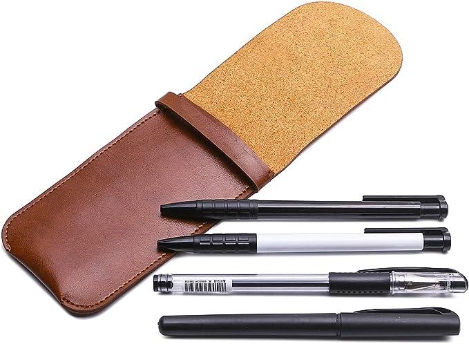 Shuxy Portatarjetas de cuero Fuente hecha a mano Estuche para bolígrafos múltiples Cubierta protectora suave de la manga de la pluma para Bolígrafo, Stylus Touch Pen - Marrón: Amazon.es: Oficina y papelería