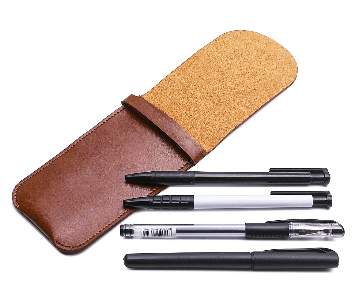 Shuxy Leather Pen Case Holder Handmade Fountain Multi Pens Pouch Soft Pen Protective Sleeve Cover for Ballpoint Pen, Stylus Touch Pen - Brown