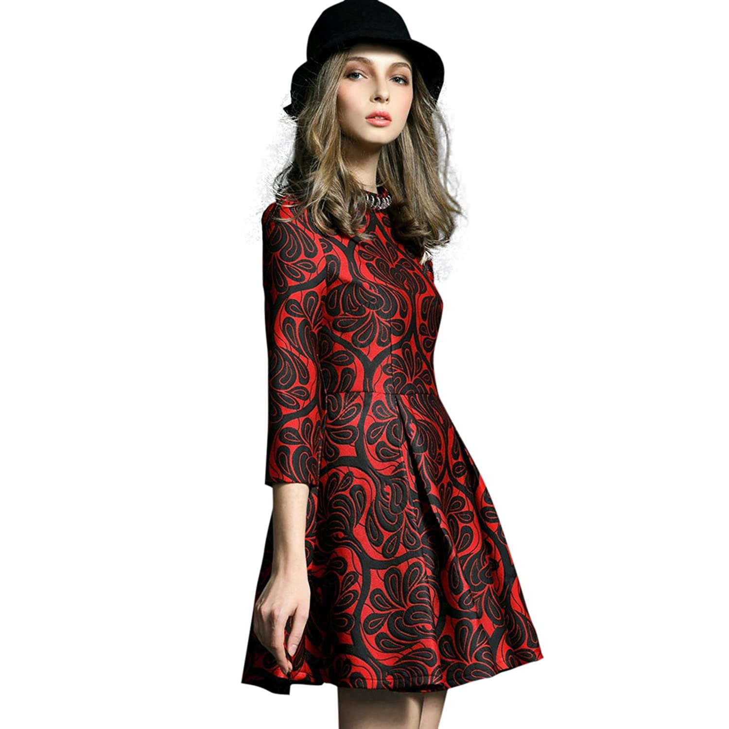 Onlymaker Women's Sexy Flare Full Lace Hollow Out A-line Dress