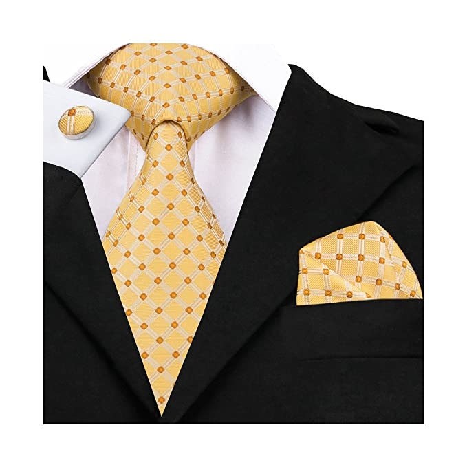 33070a3ebcc2 Image Unavailable. Image not available for. Color: DiBanGu Yellow Tie  Formal Woven Handkerchief Men's Plaid ...