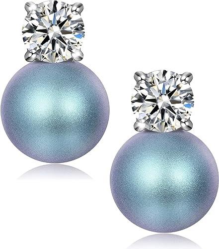 J. RENEÉ Pendientes Perla Mujer, Plata de Ley 925, Perlas de Swarovski, Joyas para Mujer, Pendientes Mujer plata