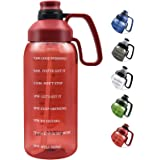 64 OZ Water Bottle with Straw, Motivational Water Bottle with Time Marker Clear Large Water Bottle with Handle, 2L Sports Wat