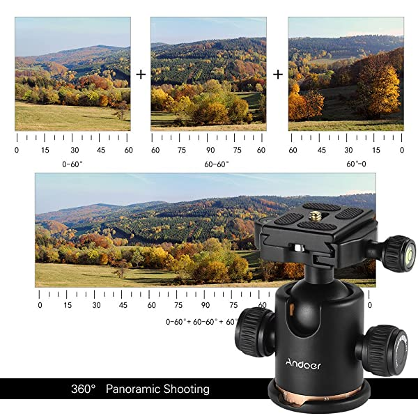 CABEZAL DE TRÍPODE ANDOER, CÁMARA GIRATORIA DE 360 GRADOS, con cámara de rotación de fluido con placa de liberación rápida, carga máxima de 8 kg / 17,64 lbs para Canon 5D markII III Rebel T6 Nikon D