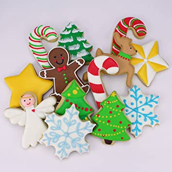 Ann Clark Cookie Cutters 7 Piece Christmas Cookie Cutter Set With Recipe Booklet Snowflake Star Christmas Tree Gingerbread Man Angel Leaping