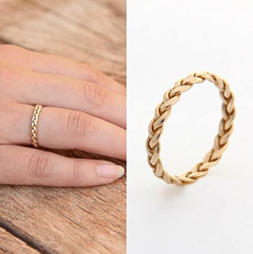 4f4f0792f Amazon.com: Handmade Wedding Bands 14k Gold, Yellow SOLID gold, Braided Ring  Women (Size 3 to 10): Handmade