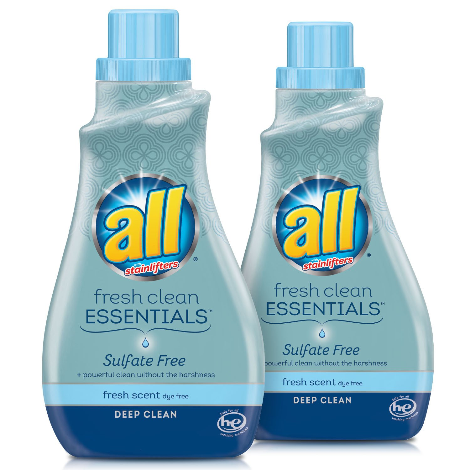 all Fresh Clean Essentials Laundry Detergent, Sulfate Free, Fresh Scent, 30 Fluid Ounces, 2 Count, 46 Total Loads