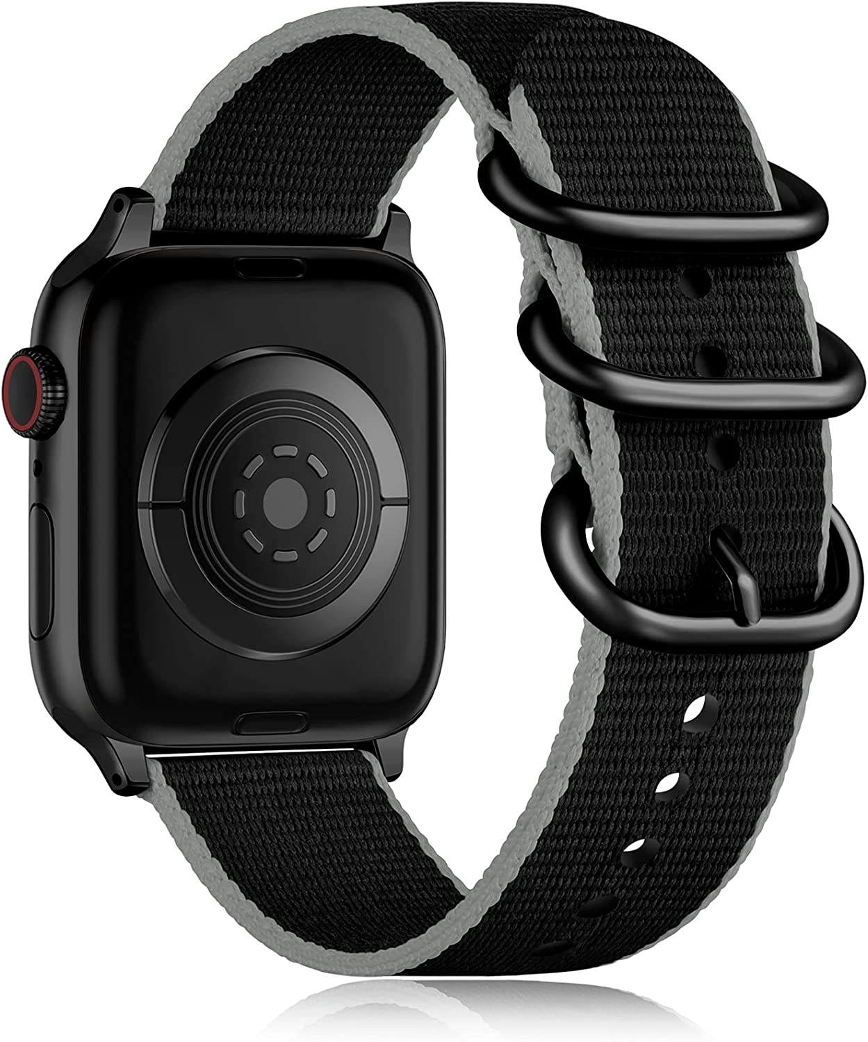 Getino Compatible with Apple Watch Band 40mm 38mm, Stylish Sport Military-Style Stripe Nylon iWatch Replacement Band with Metal Buckle fit with iWatch SE Series 6 5 4 3 2 1, Black/ Gray