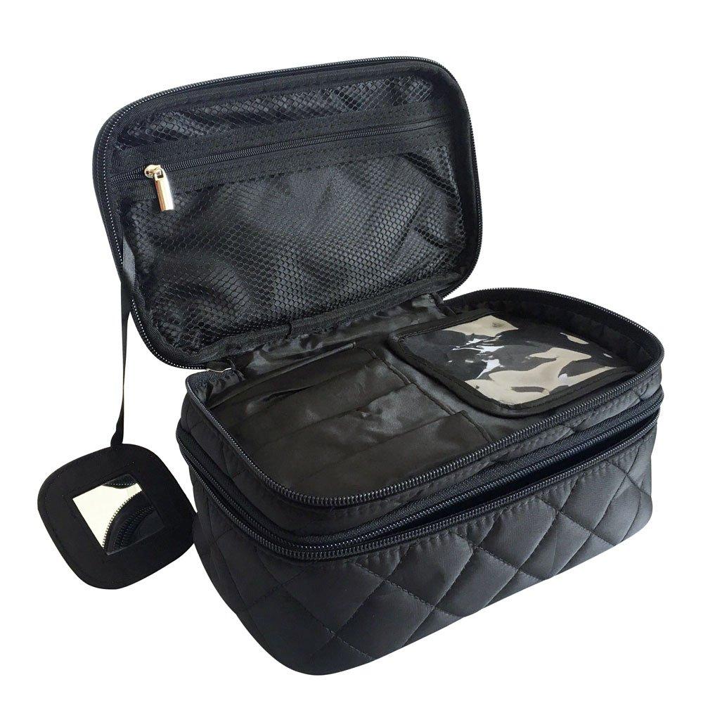 Trousse Maquillage, ONEGenug Maquillage Sac Pochette, 2 Couche pour les dames, Wash Sac Voyage 25 * 20 * 12cm (Taille L noir) Makeup Bag L