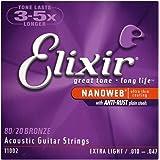 Elixir エリクサー アコースティックギター弦 NANOWEB 80/20ブロンズ Extra Light .010-.047 #11002 【国内正規品】