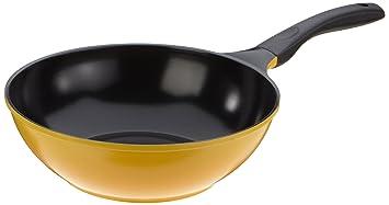 Culinario 0/51047 - Wok de inducción con Superficie de cerámica ecológica Ecolon (30 cm), Color Amarillo: Amazon.es: Hogar