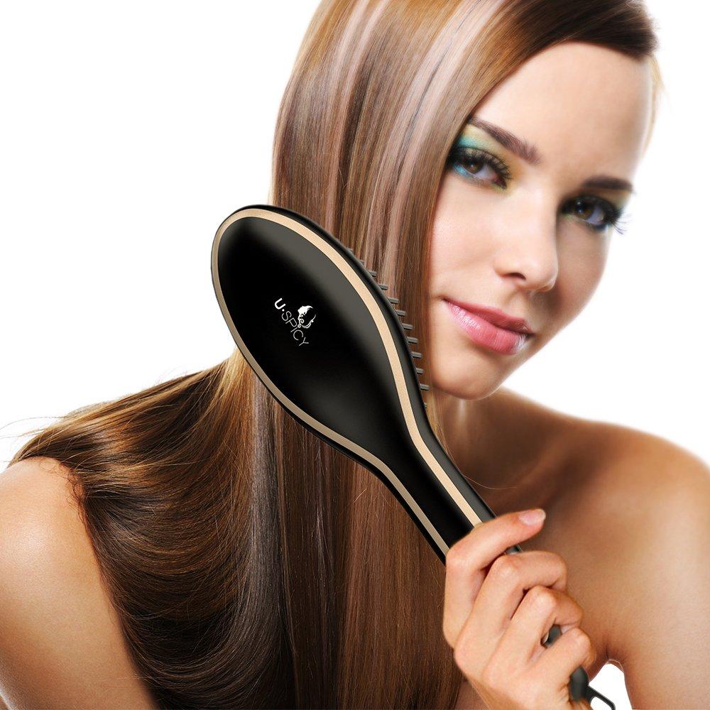 Plancha para el pelo USpicy US-FS005 peine plancha de cepillo para alisado del pelo con guantes resistentes al calor temperatura regulable (160 ℃ – 230 ...