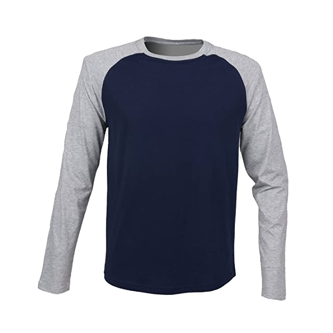 36cd0572a317 SF Men Long Sleeve Baseball Tshirt - Oxford Navy/Heather Grey - S