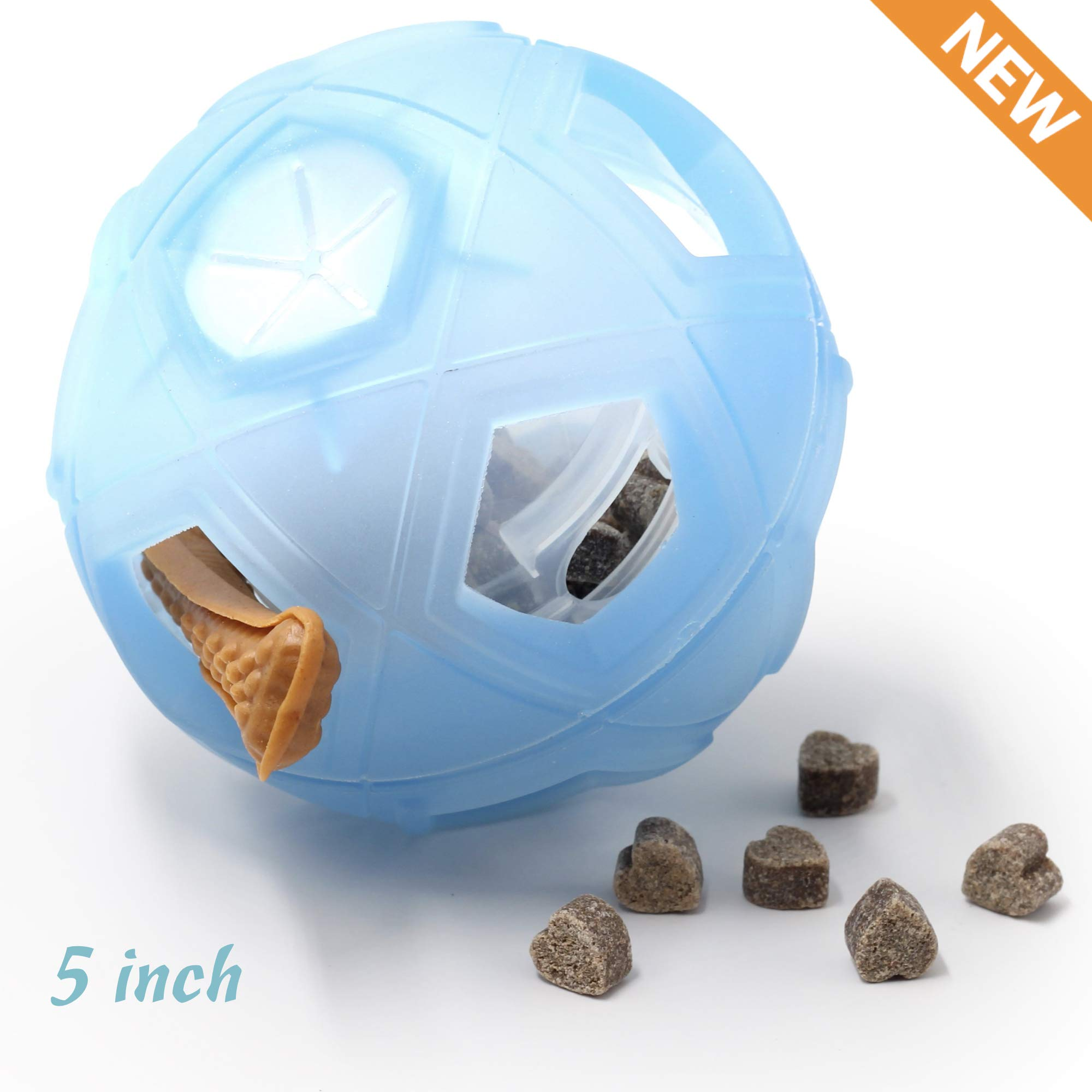 """LumoLeaf Dog Treat Ball, 5"""" Interactive IQ Treat Dispensing Ball Toy with Adjustable Difficulty Setting for Small to Medium Dogs and Cats."""