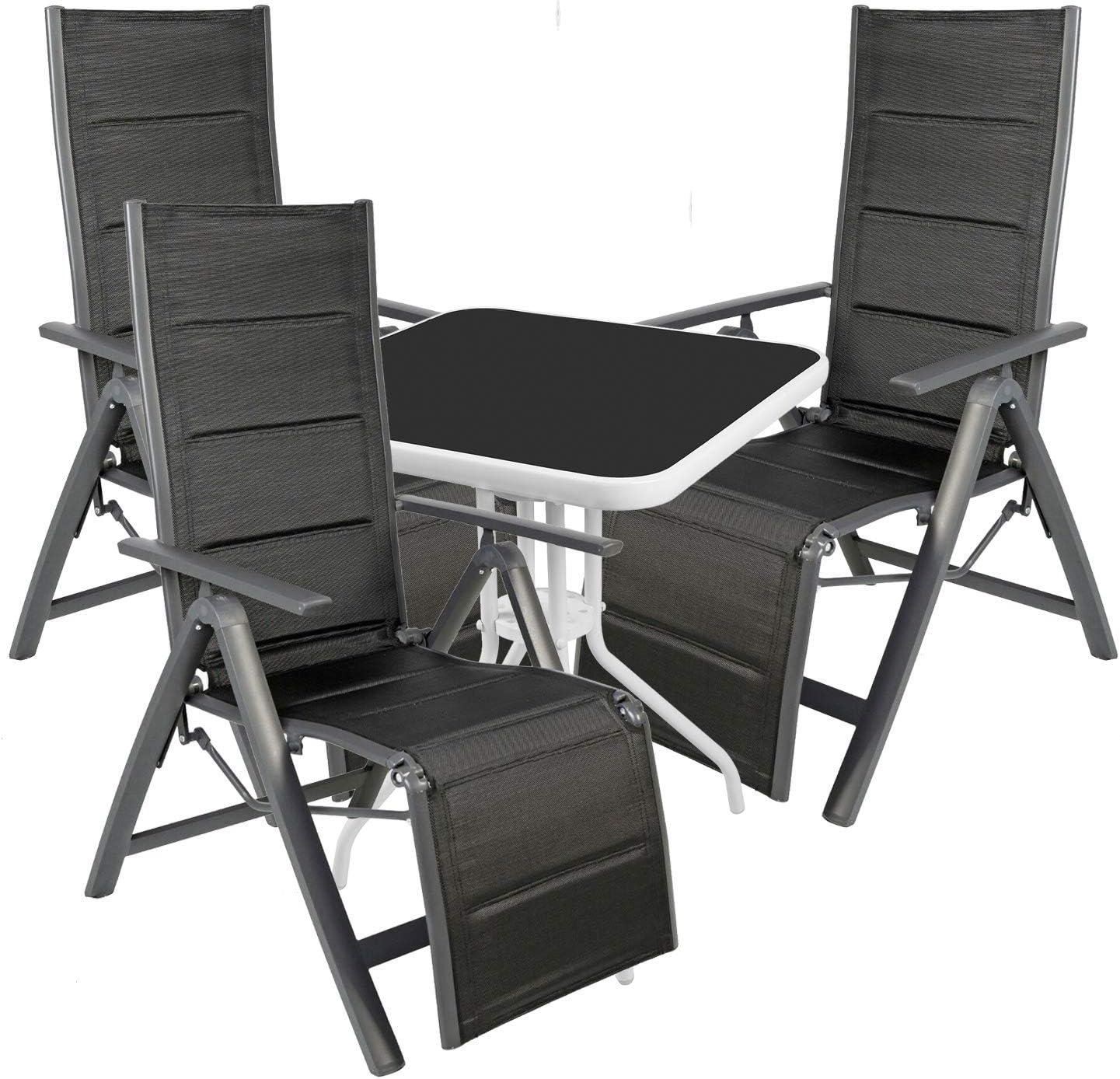 Mojawo® – Juego de 4 Piezas – Mesa de Bistro de Cristal/Metal Ø 60 cm Blanco/Negro + 3 sillas de Relax con Respaldo Alto Antracita/Negro: Amazon.es: Jardín