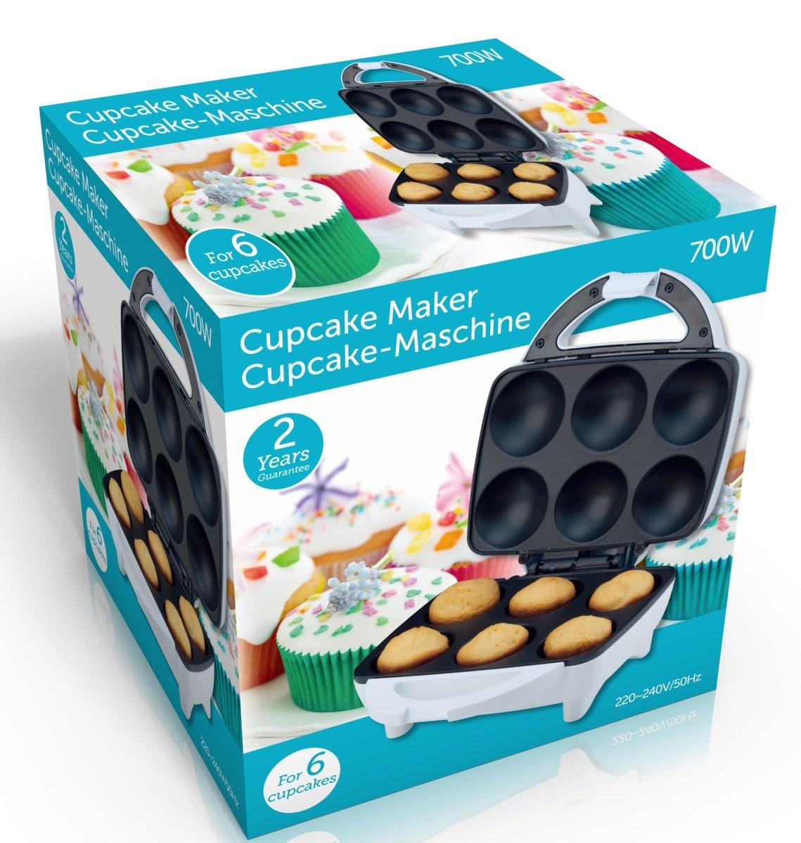 Macchina Piastra Elettrica Sforna Cupcake Tortini 6 Posti Prepara Dolci Muffin 700W Cupcake Maker GFK italia