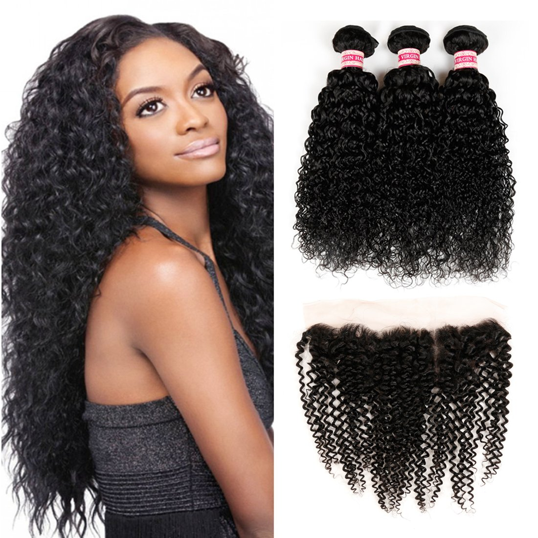 Fabeauty Kinky Curly New arrival 3 Bundles with Part Frontal Closu Max 66% OFF Lace Free