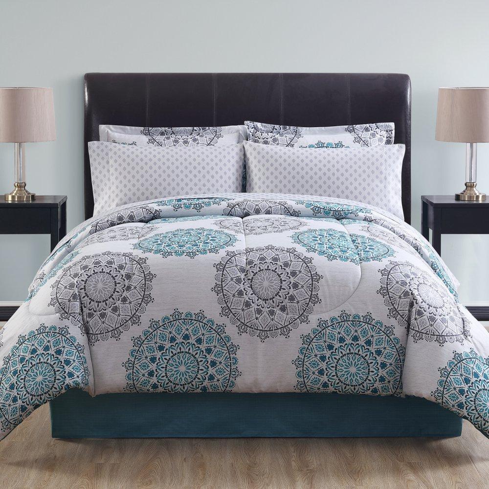 Ellison Great Value Tasmin II 8 Piece Bed in a Bag, Full, Blue