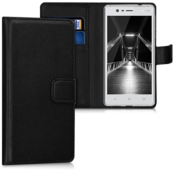 new york 73db3 ca4e9 kwmobile Wallet Case for Nokia 3 - Protective PU Leather Flip Cover with  Magnetic Closure, Card Slots and Kickstand