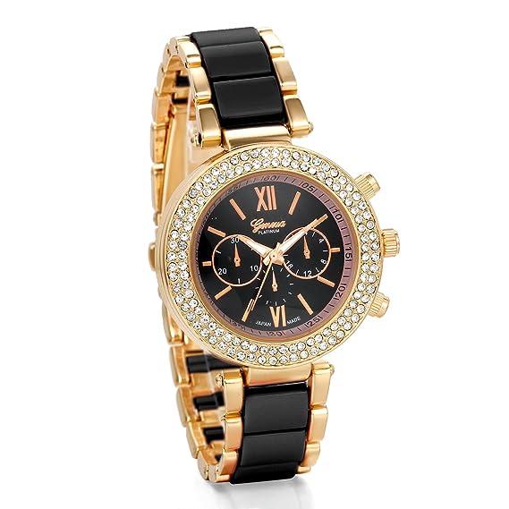 JewelryWe Precioso Relojes de Moda, Correa Negra con Acero, Diamantes de Imitación Brillantes,