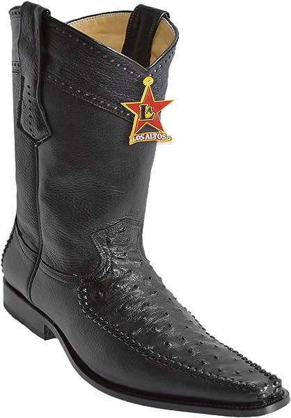ca4cb53bb4e Amazon.com: Los Altos Men's Narrow Square Toe Black Genuine Leather ...