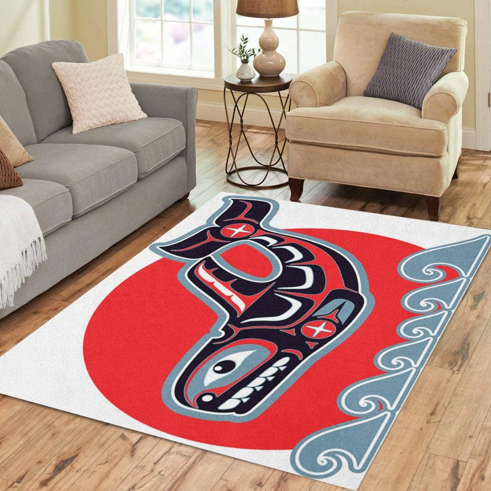 Pinbeam Area Rug Red Orca Killer Whale In Native Blue Home Decor Floor Rug 2 X 3 Carpet Kitchen Dining