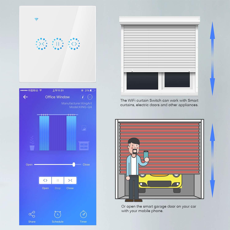 Interruptor de Persiana wifi, Frontoppy Interruptor Inteligente Inalambrico, Persianas el/éctricas Interruptor interruptor pared tactil, Control Inteligente con Aplicaci/ón o Voz