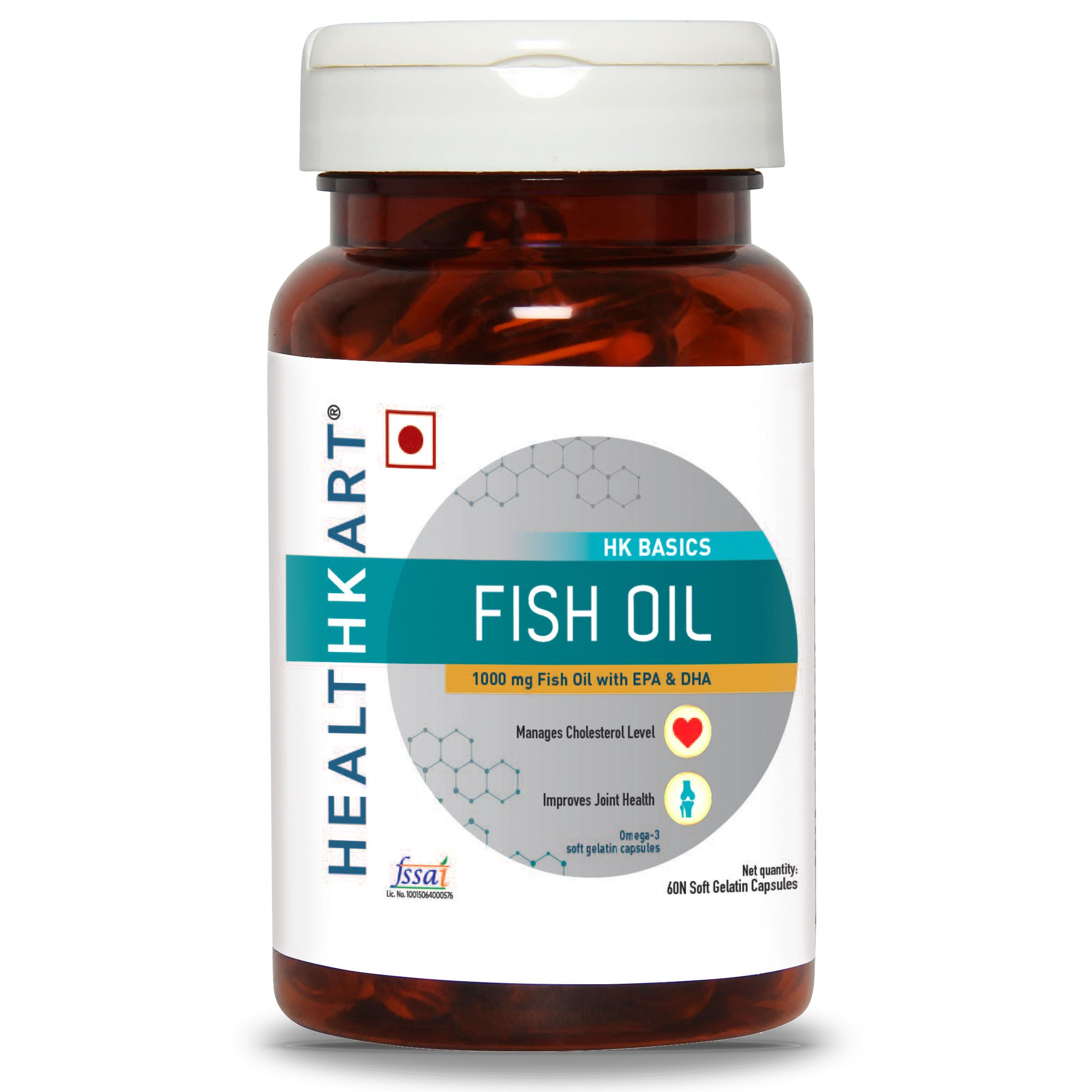 Healthkart Fish Oil (1000 Omega 3 , With 180 Mg Epa & 120 Mg Dha) 60 Softgels product image