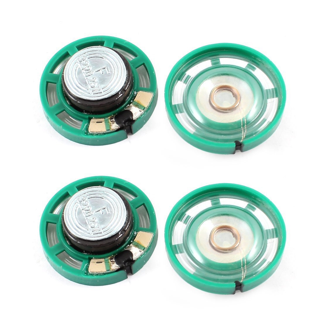 SODIAL(R) 0.25 W 32 Ohm Plastic 4 Magnetic Speaker with 27 mm Diameter Green + Silver