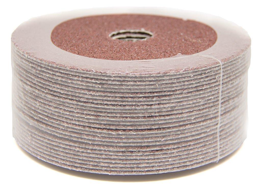 5'' x 7/8'' 120 Grit Aluminum Oxide Resin Fiber Grinding & Sanding Discs - 25 Pack