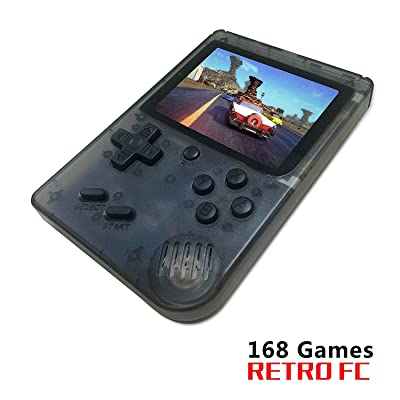 FLYFISH Retro Mini Handheld Game Console,Portable FC Game Console 3 Inch 168 Classic Games , Birthday Present for Children -Transparent BK: Toys & Games